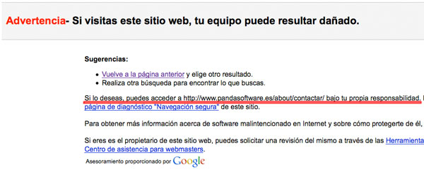 Información de advertencia de Google por error