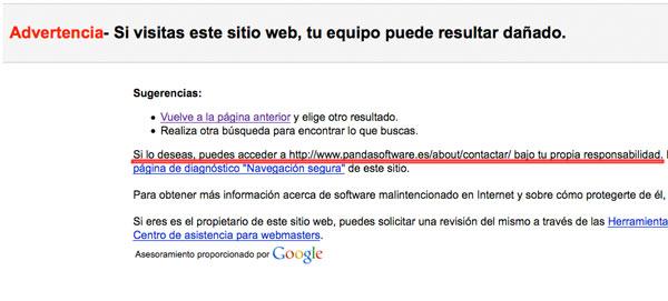 Información de advertencia de Google por error